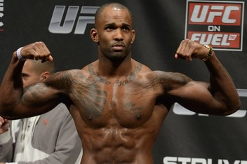 """NOTTINGHAM, ENGLAND, SEPTEMBER 28, 2012: Jimi Manuwa during the official weigh-in for """"UFC on Fuel TV: Struve vs. Miocic"""" inside Capital FM Arena in Nottingham, United Kingdom on Friday, Septermber 28, 2012"""