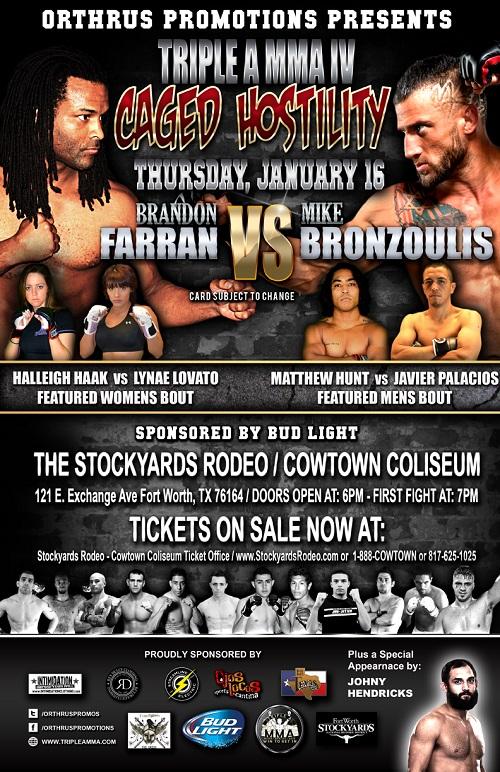 Caged Hositility_Farran vs. Bronzoulis Poster