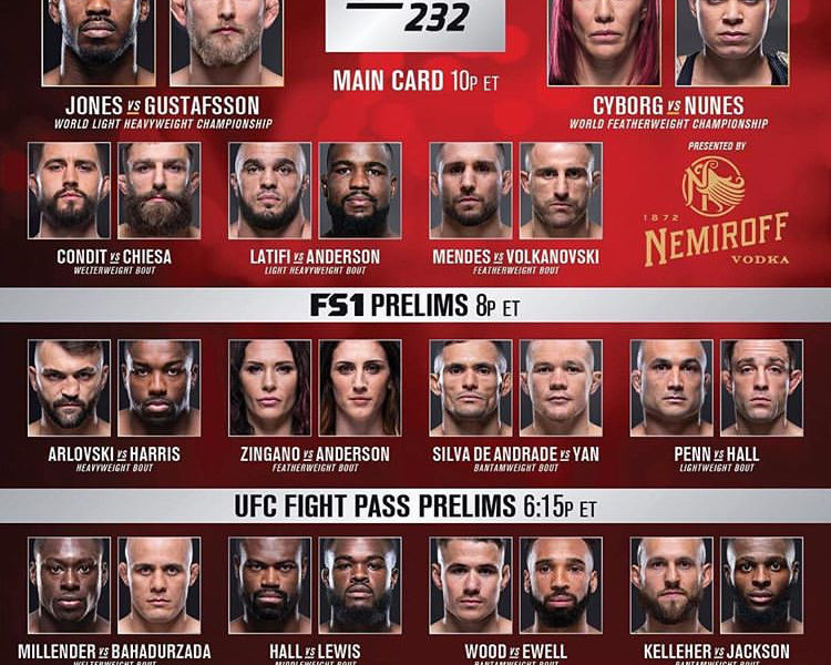 UFC 232 Quick Results